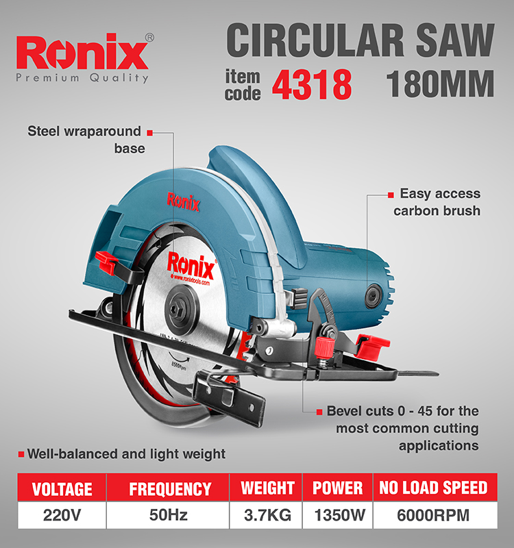 4318 Ronix Electric Power Tool 180mm High Speed Circular Saw Premium Quality