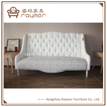 French Clic White On Tufted Antique High Back Loveseat Sofa