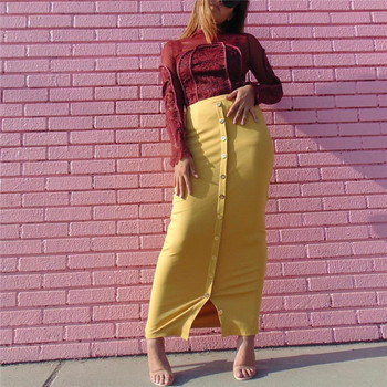 Fashion Singapore Long Skirts Yellow Pencil Skirt for Muslim Women Adult