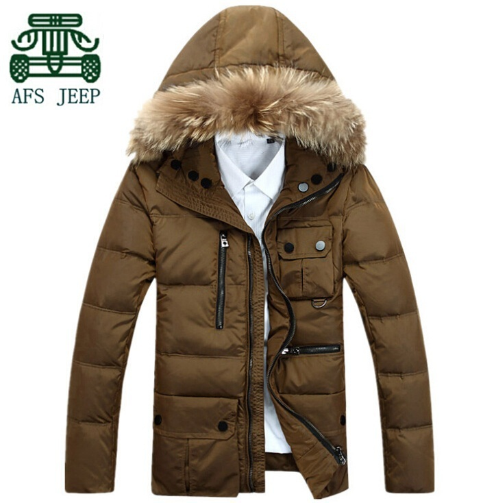 AFS JEEP 2014 Winter Men's Down&Parkas Coats,Fur Moved Hooded Long Jacket,Plus Size Sports Male winter Coats,Thick Sport Coats