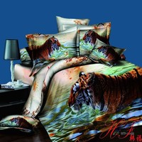 Lovely swimming tiger pure cotton reactive print 3d duvet cover set for home
