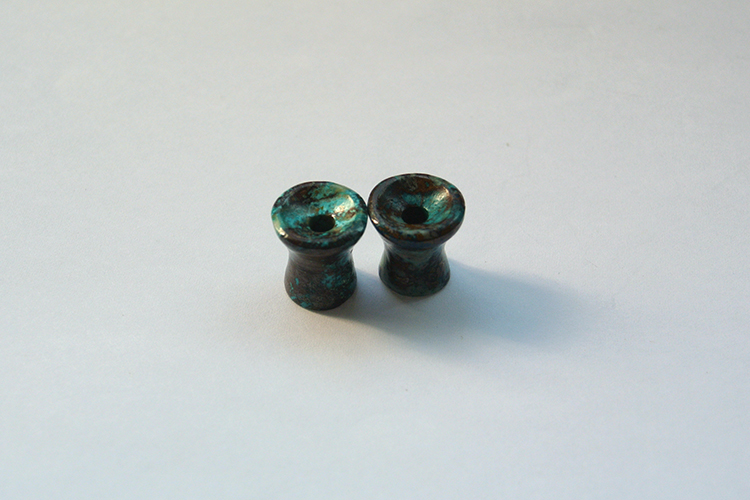 Chrysocolla Mayan Flare Tunnels Ear Plugs great pattern Gemstones 8mm 13mm thickness