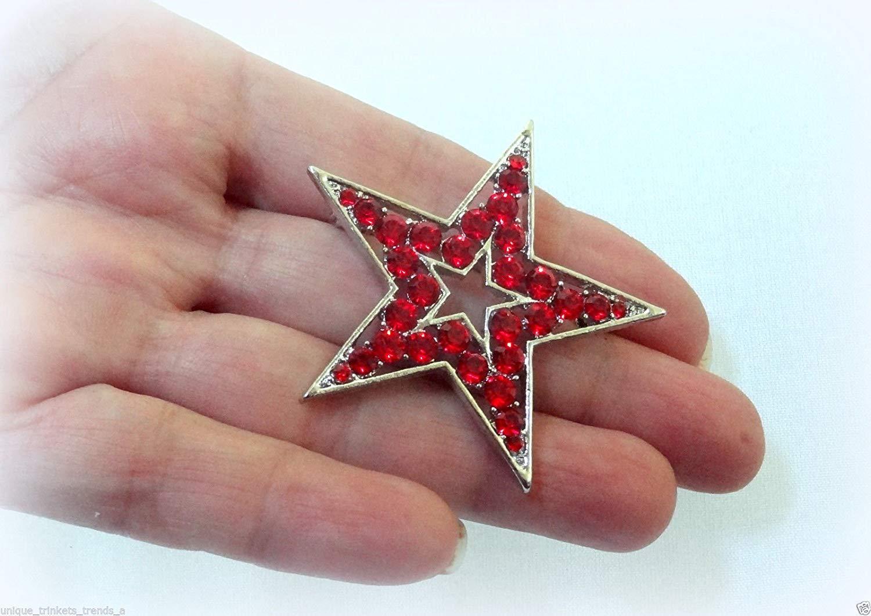 7b40c4a93 JULY 4TH PATRIOTIC AMERICAN FLAG USA RED RHINESTONE STAR SILVER PIN PIN  BROOCH SCARF CLIPS CORSAGE