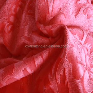 100% Polyester Super Soft Pink Solid Embossing Flannel Fleece Blanket Fabric