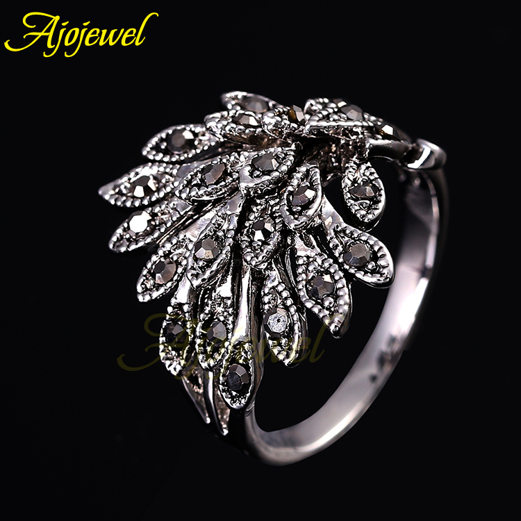 Ajojewel brand jewelry 18k white gold plated cute vintage retro rhinestone phoenix black rings for women