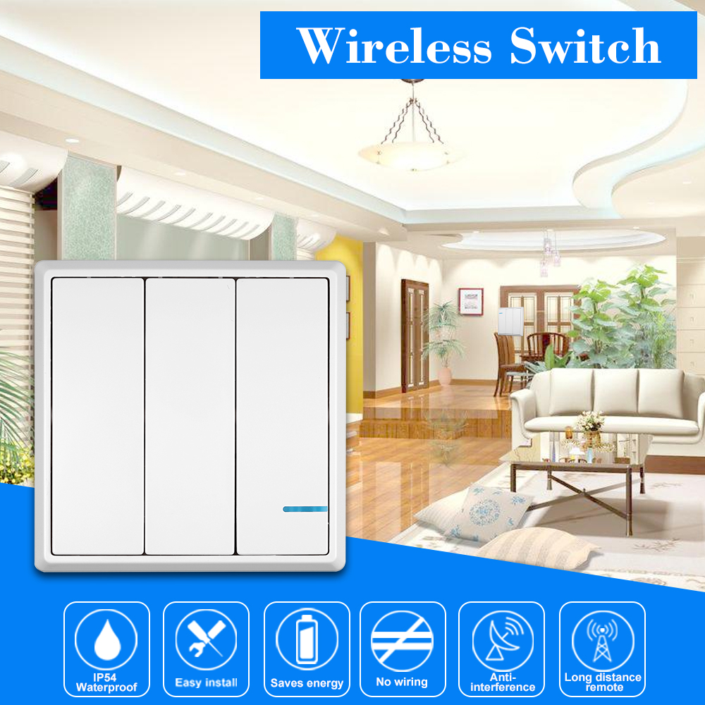 Smart Home Control Wall Switch Wireless Remote Light Easy Wiring 3 Keys Kit No For