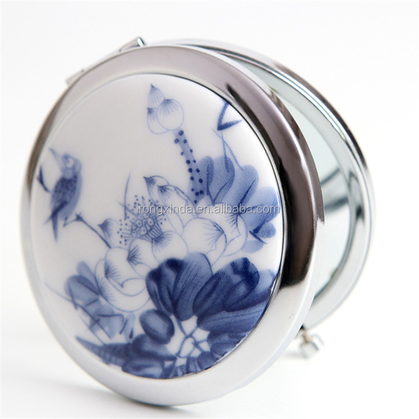 complimentary small round vanity cosmetic salon pocket makeup/cusmetic mirror with blue and white porcelain pattern