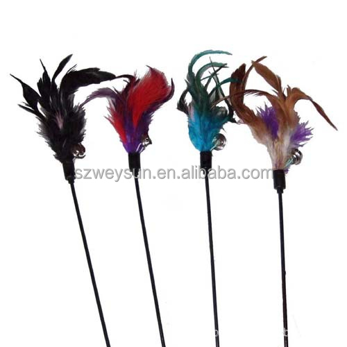 48CM Color feathers Cat Teaser Toy Rod cat bell toys, scratching toys 100pcs/lot