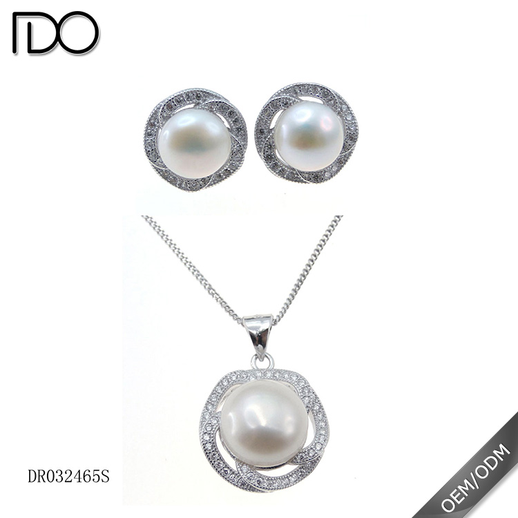 925 Sterling Silver Freshwater Pearl Jewelry Set Pearl Wedding Sets Natural Pearl Jewelry Wholesale