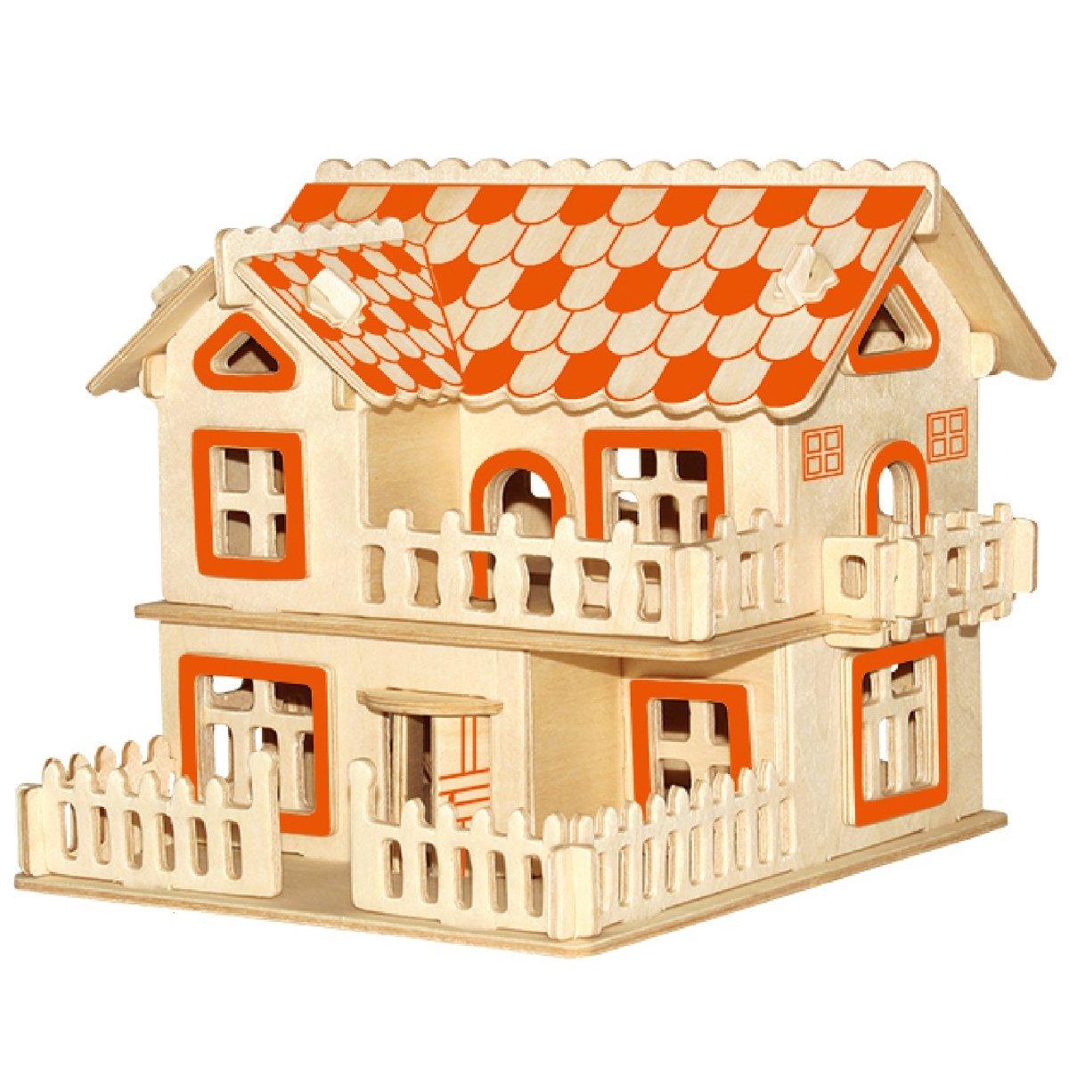 Smilelove 3D Assembly Wooden Building Puzzle European Villas A Jigsaw Puzzle