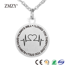 ZMZY brand ECG special love pattern design 316L stainless steel necklace pendant jewelry