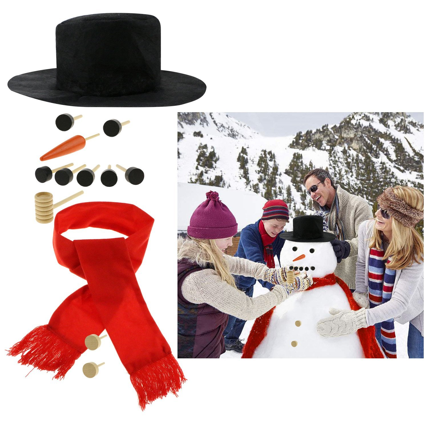 Fixget 13 Pcs Snowman Decorating Kit, Snowman Making Kit Snowman Dressing Kit Winter Outdoor Fun Toys Decoration for Kids, Including Top Hat, Scarf, Pipe, Eyes, Carrot Nose & Button