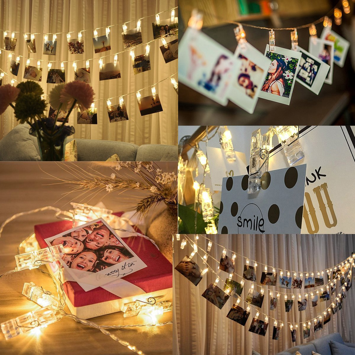 50 USB Powered LED Photo Clip String Lights Christmas String Lights Indoor/Outdoor Gorgeous Warm White Light - for Hanging Photos Pictures Cards and Memos (Warm White)