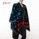 Knit indian embroidery fashion cashmere knitted pattern flower poncho scarf