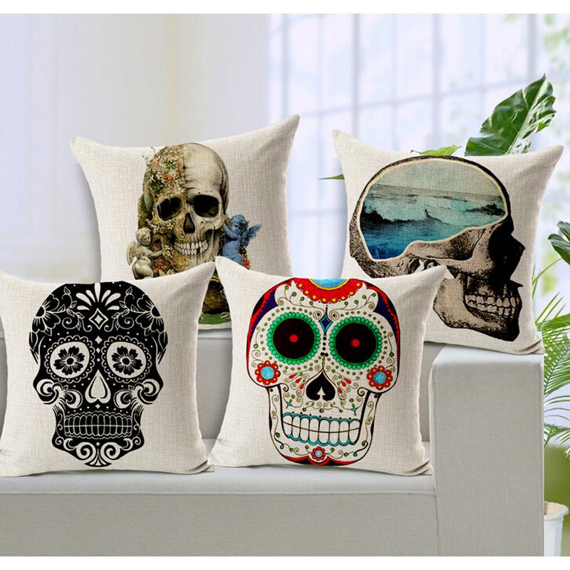 100% Cotton Fabric <font><b>Scandinavian</b></font> Skull Cushion Cover Pillow Case Halloween Day Of The Dead Decoration Pillow <font><b>Home</b></font> <font><b>Decor</b></font> Retro