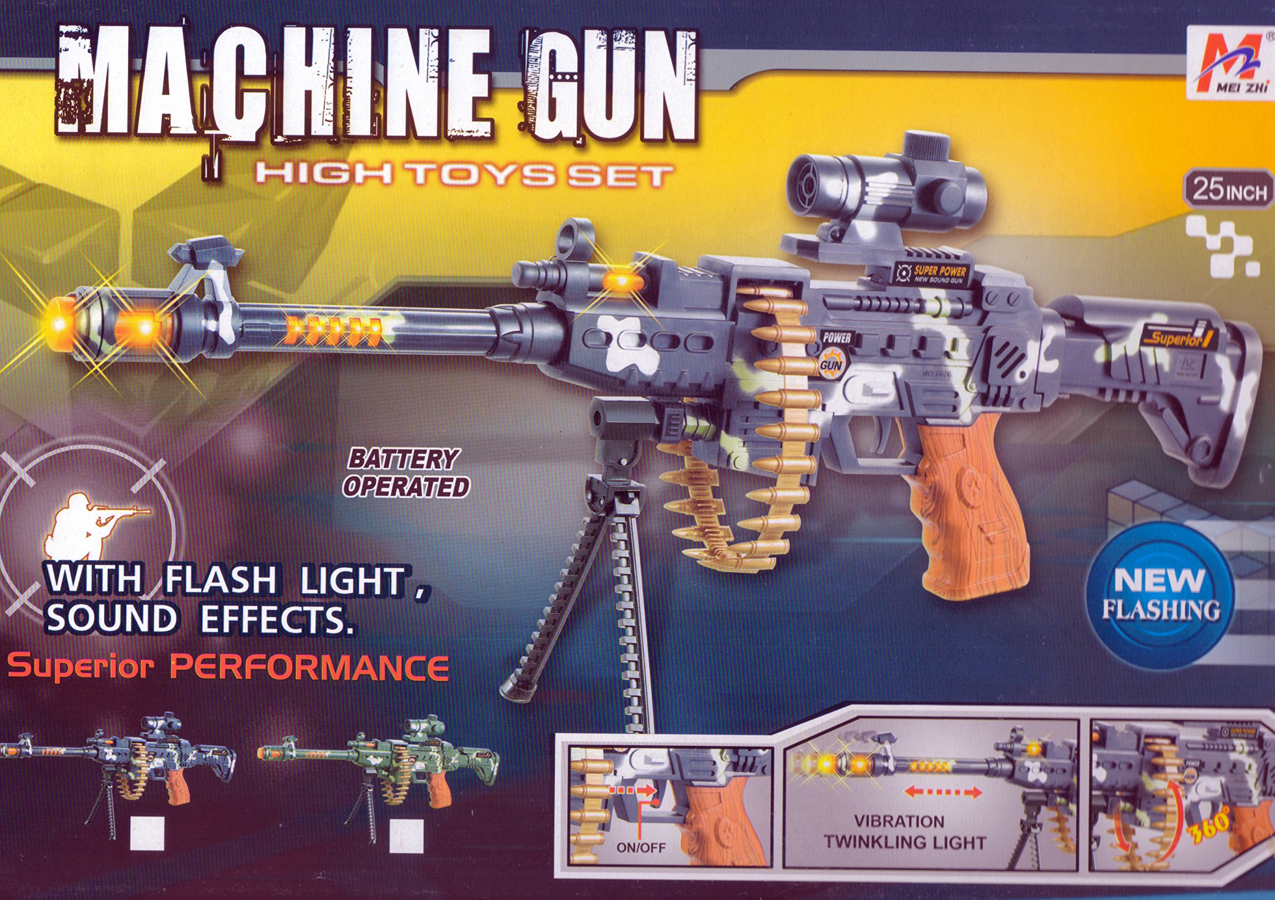 "BATTERY OPERATED BOYS FIRE POWER 24"" LIGHT UP TOY MACHINE GUN W/SCOPE. FLASHING LIGHTS AND SOUND EFFECTS GUN TOY - POPULAR WITH KIDS"