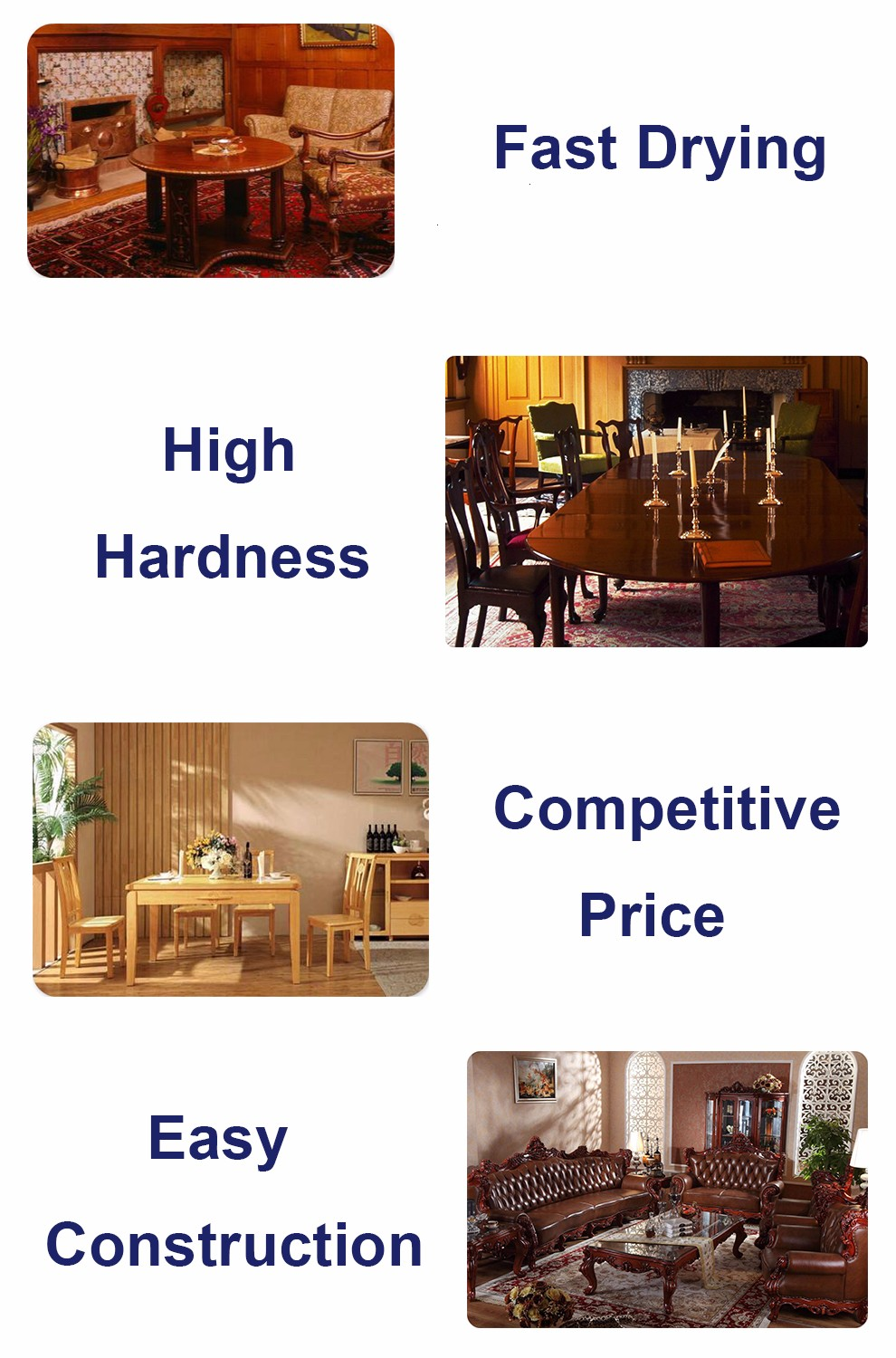 Hualong Polyurethane High Anti-scratch Furniture Varnish Coating