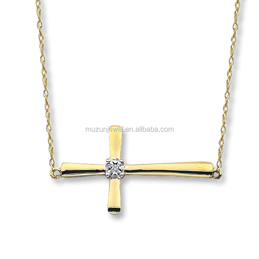 Fine Jewelry 925 Sterling Silver Gold Plated Jesus Cross Pendant Necklace