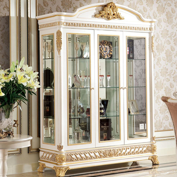 Yb62 French Rococo Style Living Room Furniture Wine Display Cabinet With Tv Stand Antique Wooden