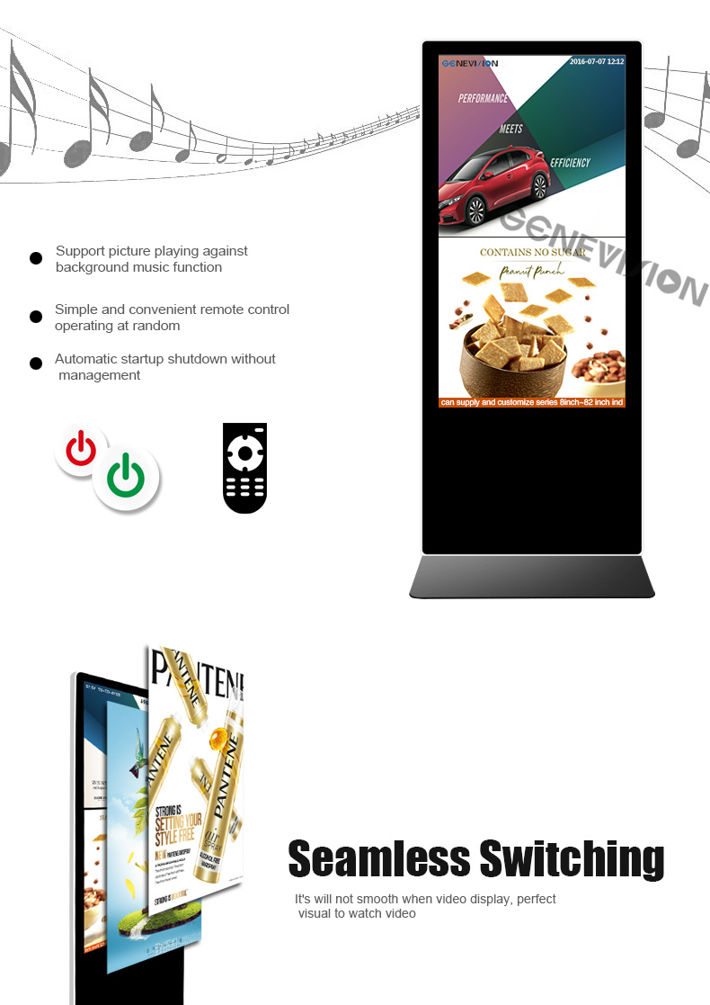 "43"" 49"" 55 inch Standalone Floor standing Indoor digital signage lcd kiosk advertising display"