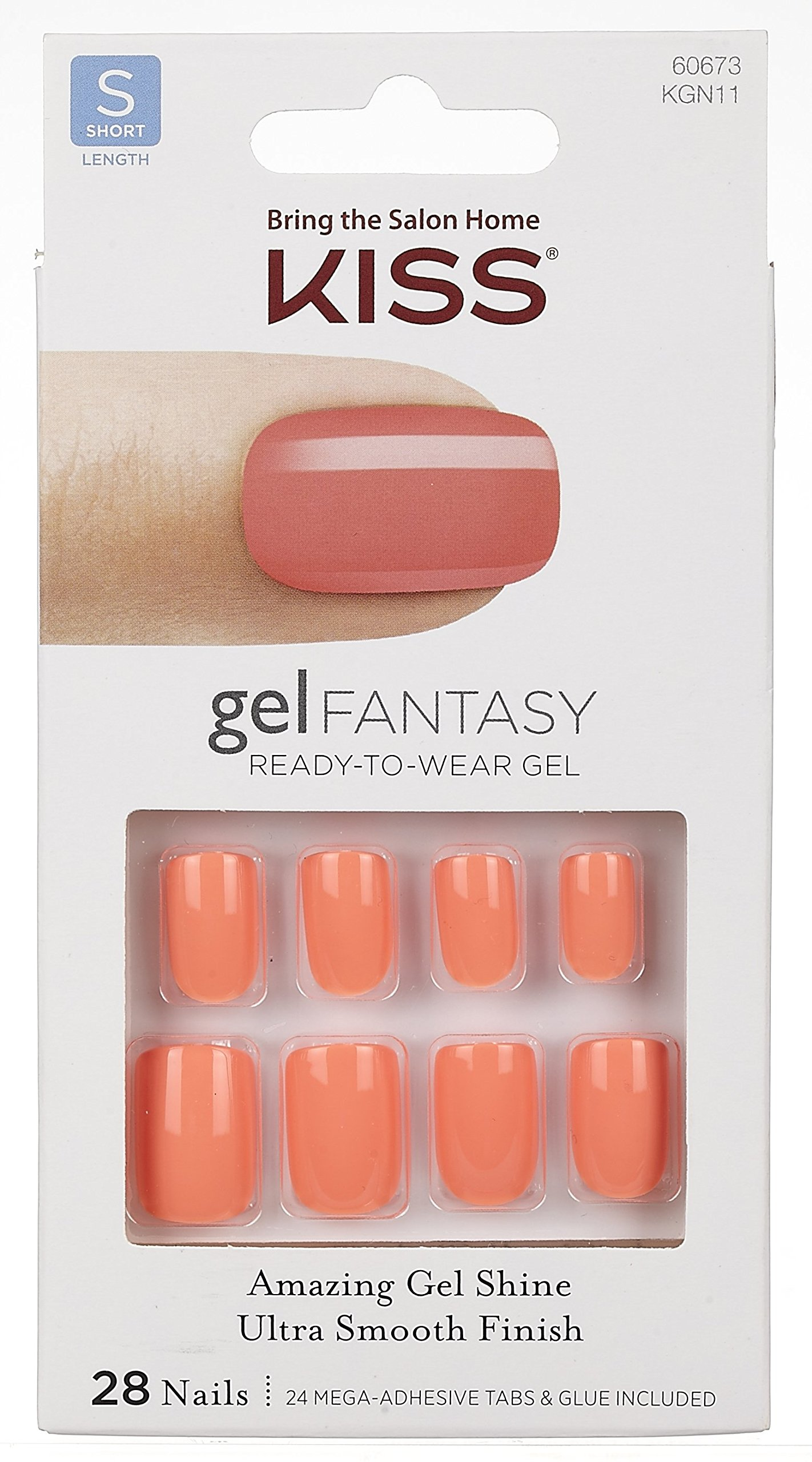 "**NEW** Kiss Nails GEL FANTASY ""KGN11"" (TIGHT FIT) Short Design Nails w/Adhesive Tabs & Glue"
