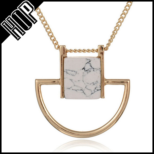 Best selling fashion Europe gold plated square natural stone necklace