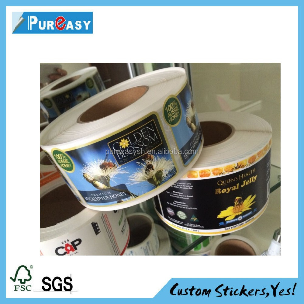 Self adhesive waterproof custom bee honey jar label
