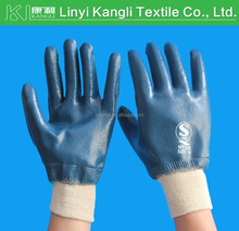 Blue nitrile coated gloves with interlock lined