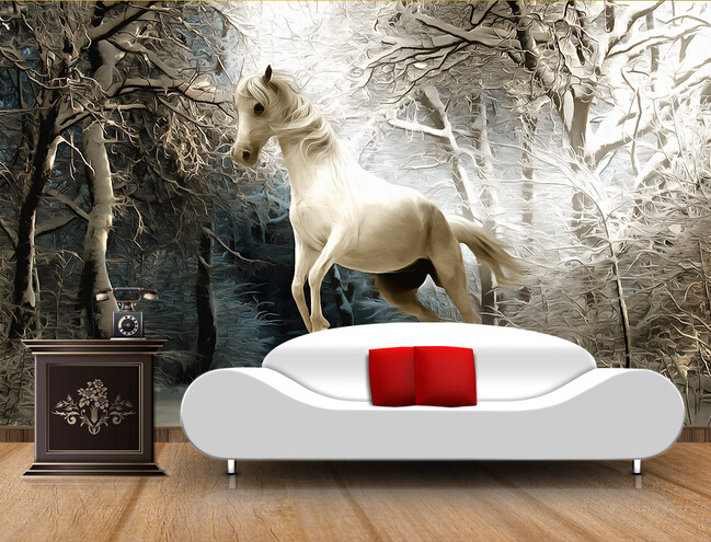 Custom 3D Horse Wallpaper, The Winter Forest Murals For