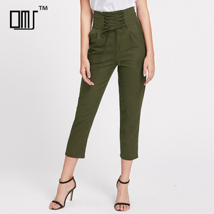 Wide waistband with lace up details high waist cropped cigarette pants
