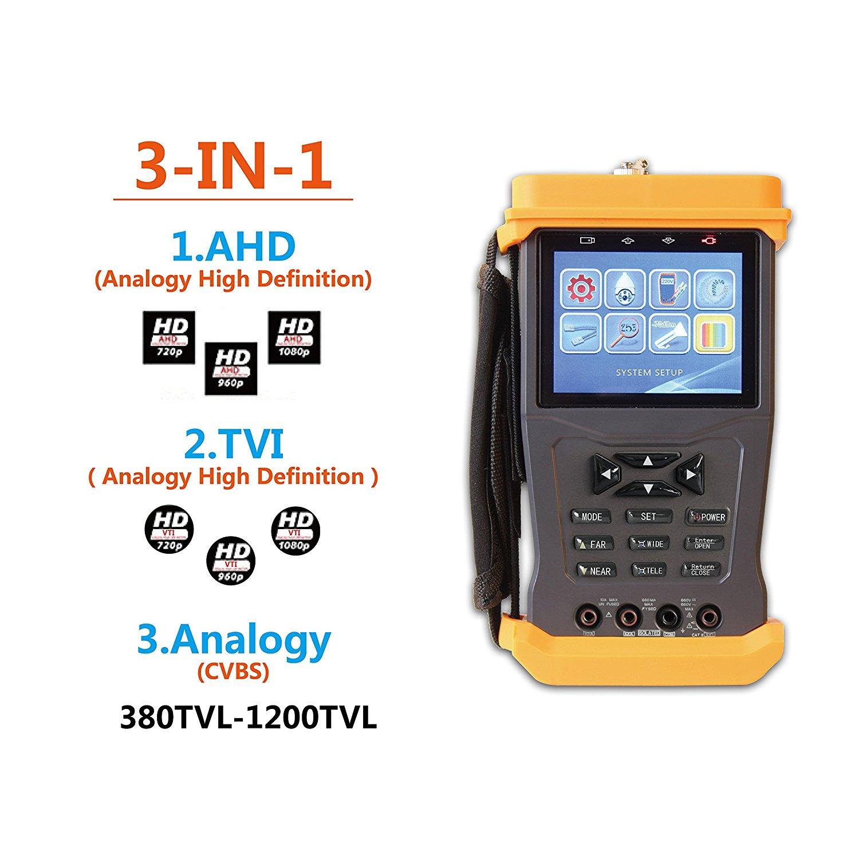 CCTV Tester for AHD/TVI/Analog Cameras,PTZ Camera Control &Test Video Audio Test UTP Cable Test Color Bar Generator Optical Power Meter 1080P 12V/1A Output Camera Tester