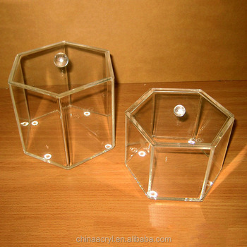 Wholesale Storage Bins Hexagon Containers Acrylic Boxes With Lids