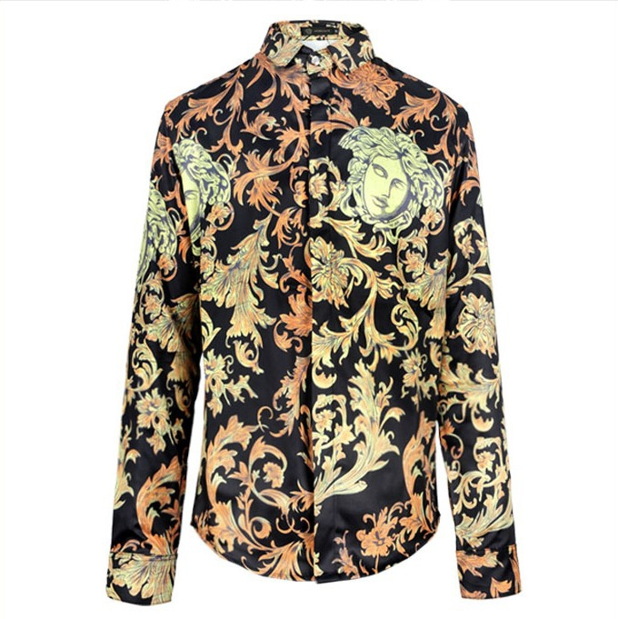 2015 Hot Mens Shirts,Golden Palace catwalk models Men's dress Shirts,Men's Casual Fit Stylish long-sleeved Shirts Size:S-XL