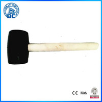 High Quality Hand Tools Rubber Hammer With Wooden Handle