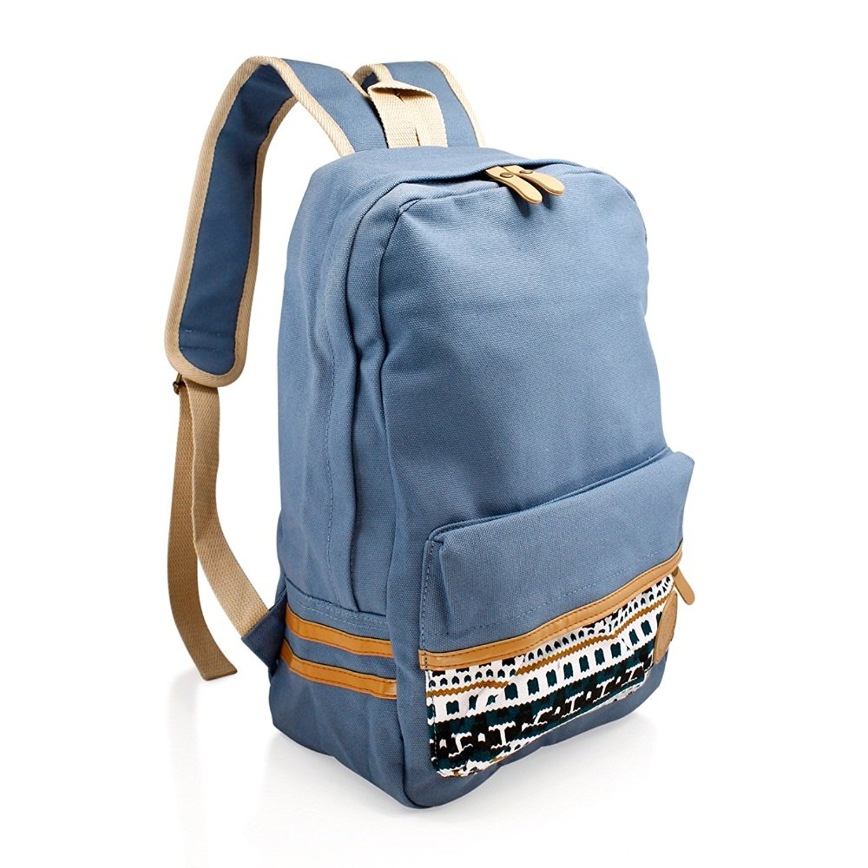 Girls Chic Blue Slate Tribal Backpack Kids Aztec Themed White Tan Trim  Carry On 7fcef62ccbdce