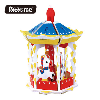 Robotime merry go round painting puzzle with kid painting kit