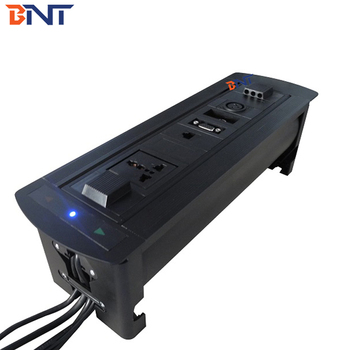 Automatic Desktop Motorized Rotating Hidden Power Plug Socket with LED Indicator Light