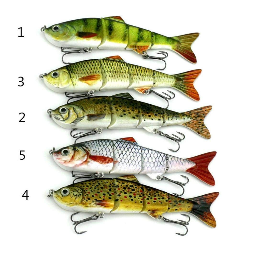 Rumas 1Pc Bass Trout Minnow Fishing Bait with Two Hooks, Carbon Steel Hook Bait, Freshwater Saltwater Fishing Lure Tackle (Random)