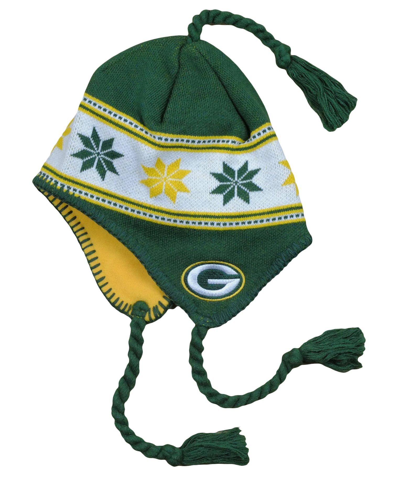 Green Bay Packers NFL Big Boys 8-20 Tassel Knit Winter Hat, Green