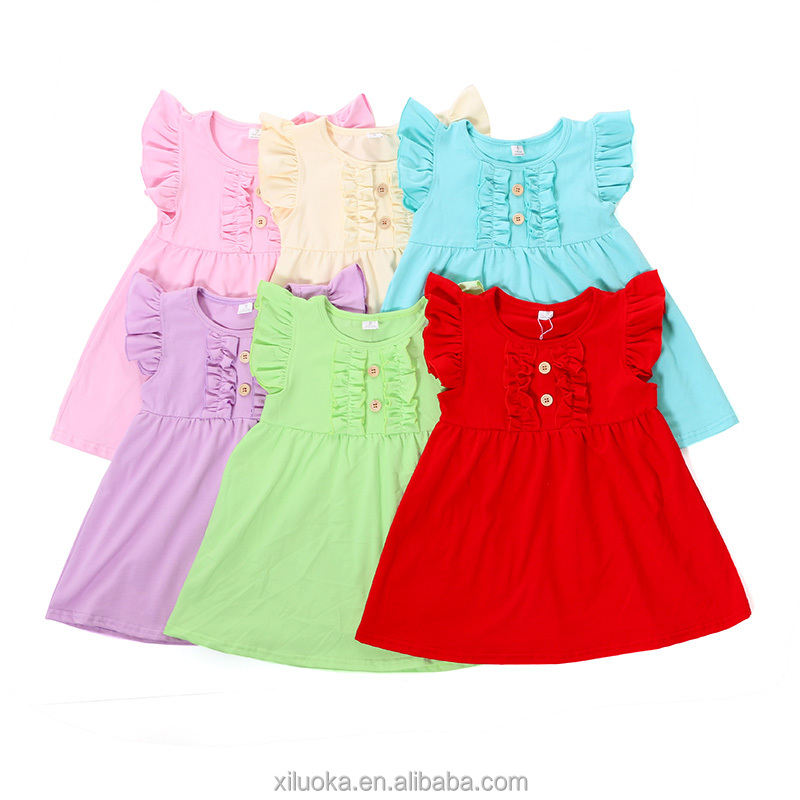 100% cotton dress designs round neck baby flutter sleeve kids dresses