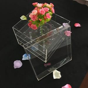 customized transparent green decorative flowers box storage without lid , Preserved Roses in Rectangular Glass Box acrylic