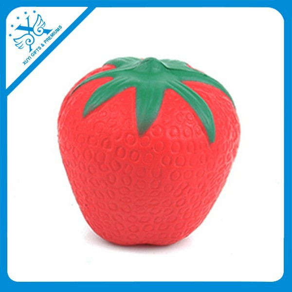 PU strawberry shape stress toy squeezy toy fake strawberry strawberry stress ball baby fruit toys