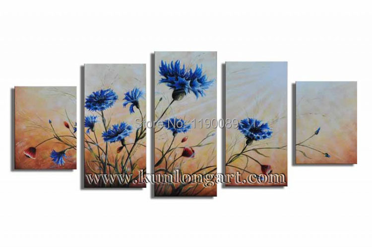 Free Shipping Unframed 100% Handmade Flower Picture Modern Art Group Canvas Oil Painting 5 panels/set Home Decor (KLFL5-0008)