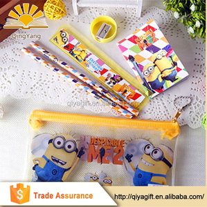 wholesale Promotional waterproof cartoon pvc bag school Stationery Set for kids