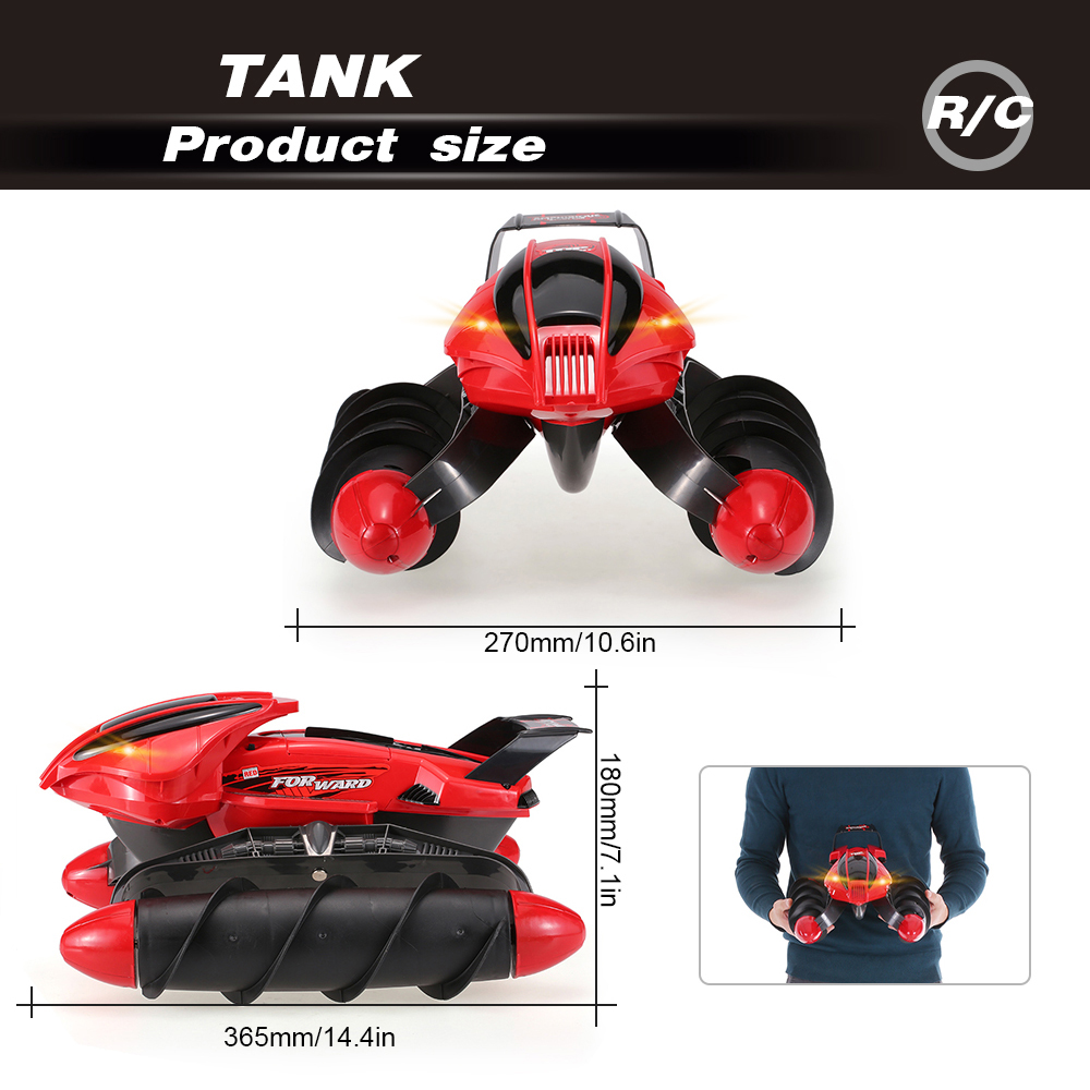 Flytec 989-393 2.4GHz Amphibious Stunt Waterproof All-terrain Sand Lake Pool Grass Snow Slippery Road High Speed RC Tank