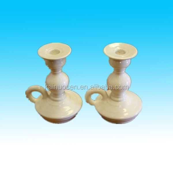 Fashion white ceramic candle holder/candle stand set of 2