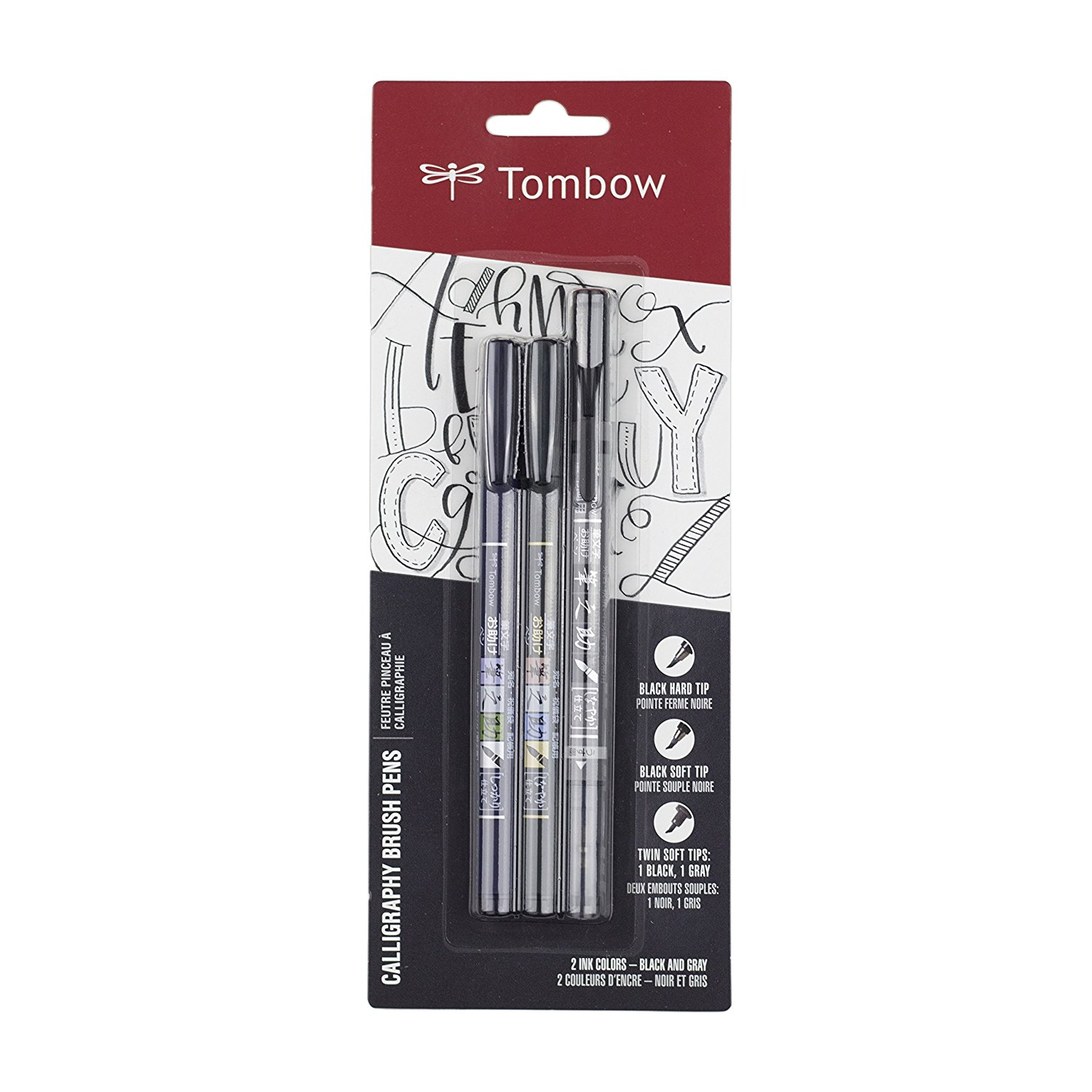 1b6dd5dfc601 Get Quotations · Tombow 62039, 3-Pack. Soft, Hard and Twin Tip Fudenosuke  Brush Pens
