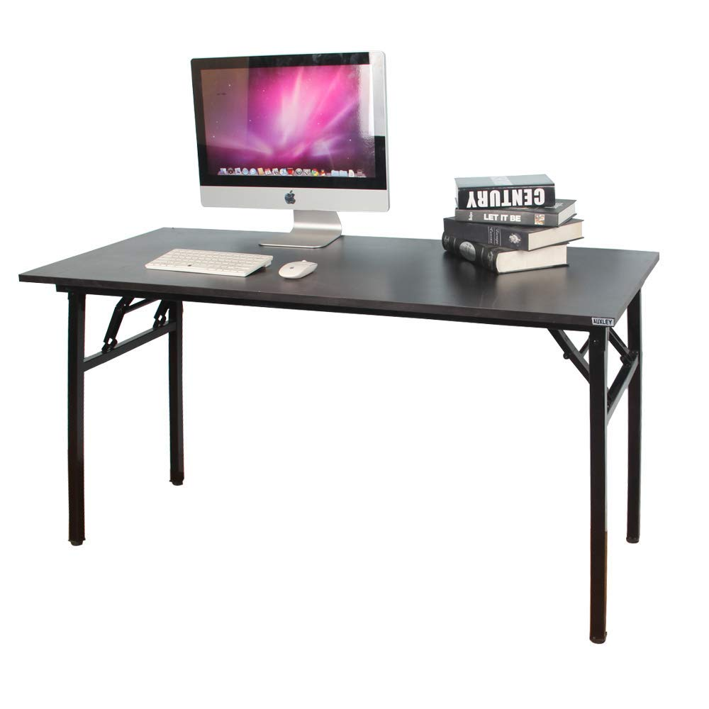 "AUXLEY Folding Computer Desk Modern Simple Writing Desk for Home Office Study, Wood and Metal Folding Table (Black, 55"")"