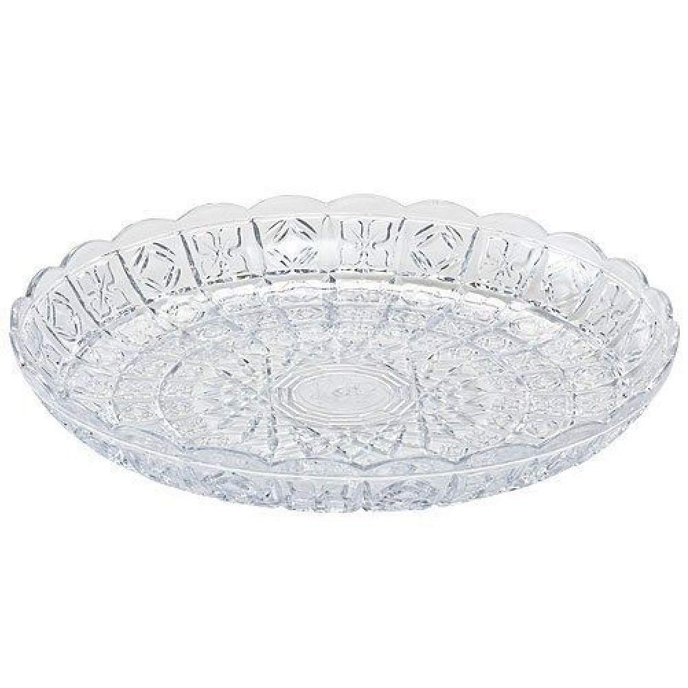"""Clear Plastic Crystal Cut Round 11"""" Tray - 1 Count"""