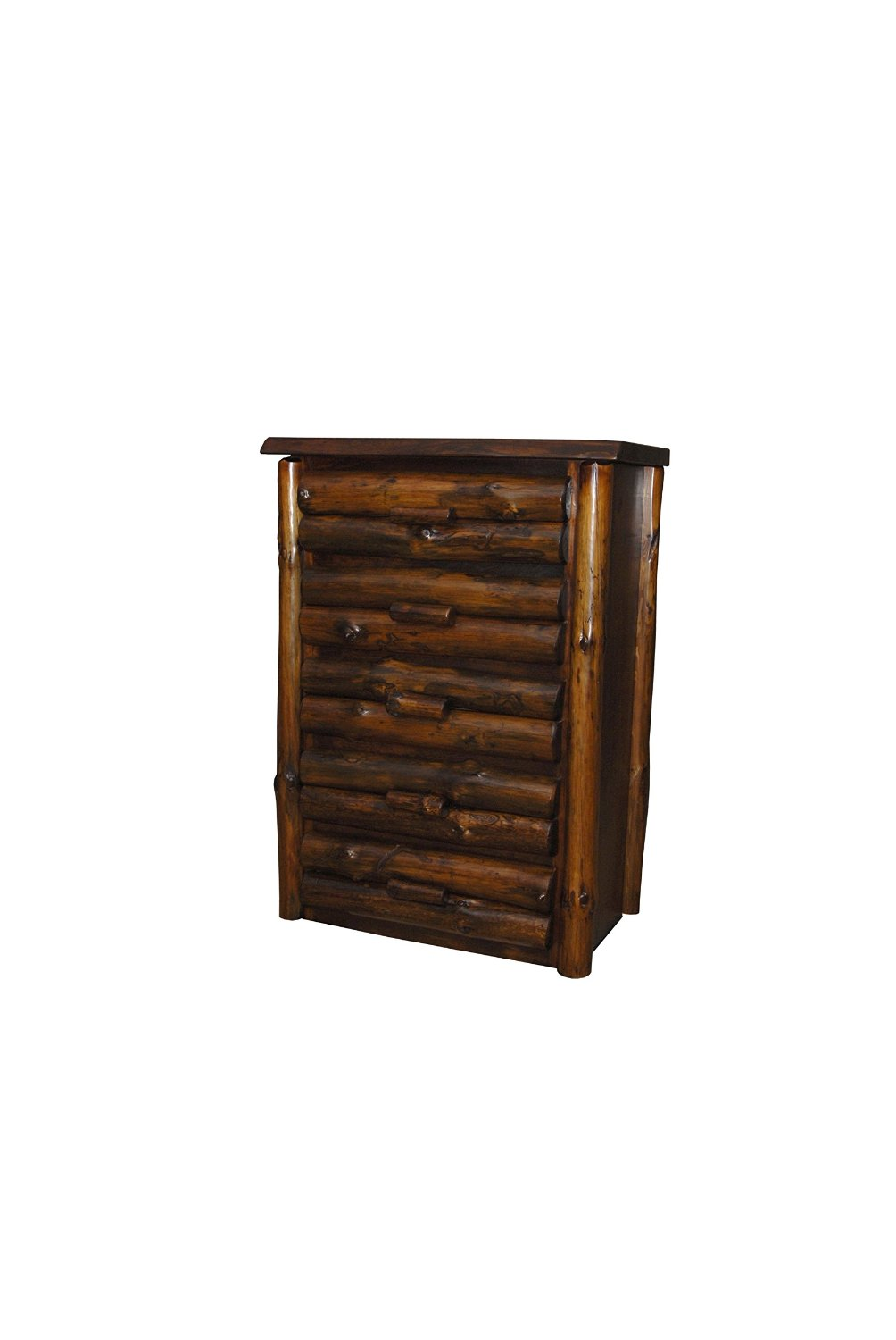 Rustic Pine Half Log Drawer Chest *AVAILABLE IN 3 SIZES* (Clear Varnish, 5 Drawer)